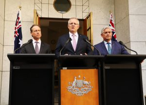 Greg Hunt (L), Scott Morrison (C) and Ken Wyatt (R)